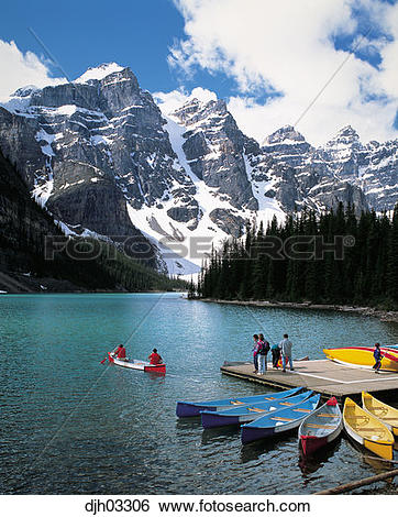 Stock Images of Canoe on Moraine Lake in Banff National Park.