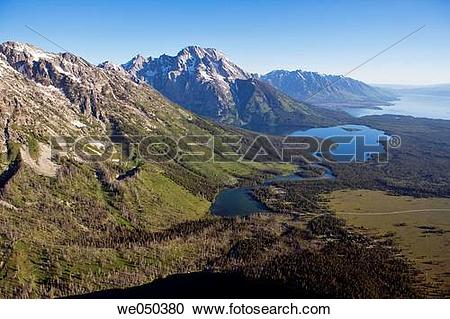 Stock Photography of Aerial view of Mount Moran. Grand Teton.