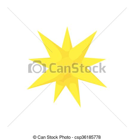 Vectors Illustration of Gold moravian star icon, cartoon style.