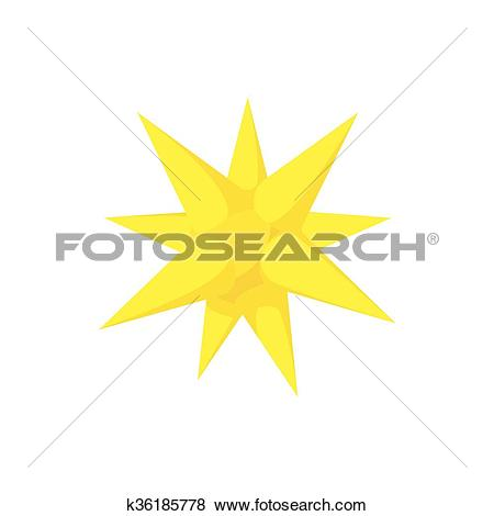 Clip Art of Gold moravian star icon, cartoon style k36185778.