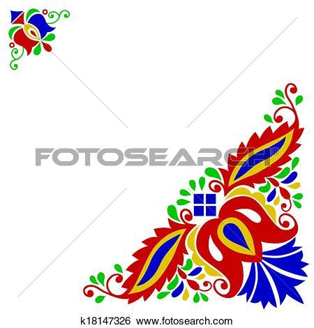 Clip Art of Moravian folk ornament k18147326.