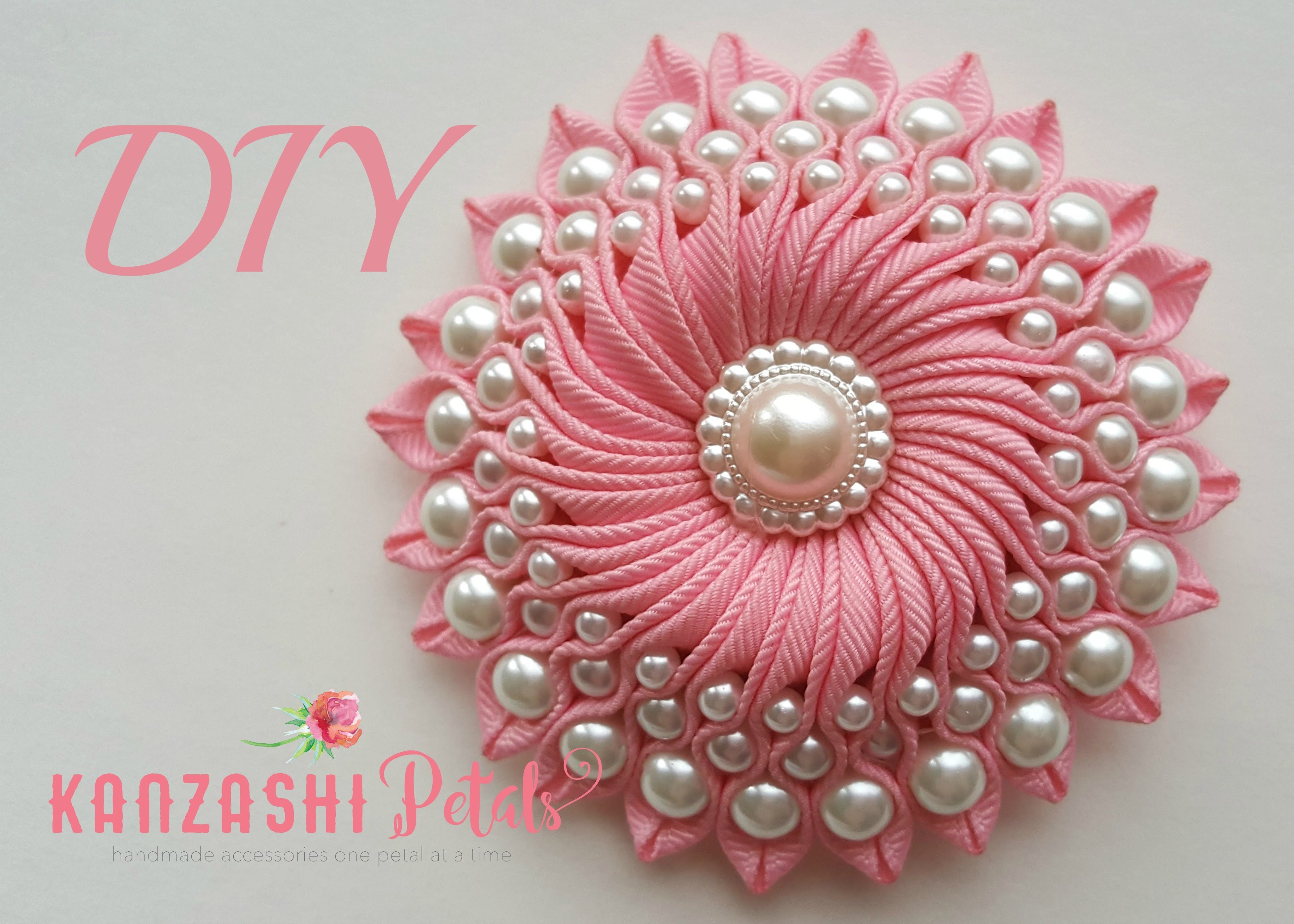 DIY Ribbon flower with beads/ grosgrain flowers with beads.