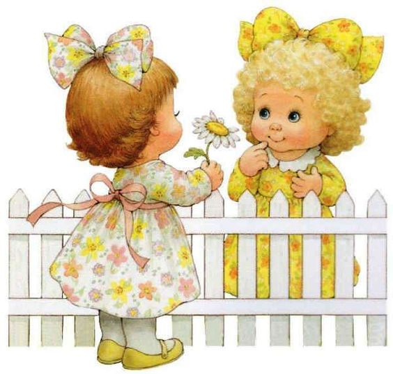 Two girls Illustration by Ruth Morehead.
