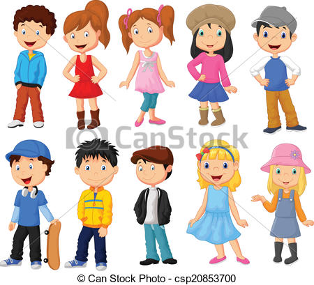 Vector Clipart of Cute children cartoon collection.