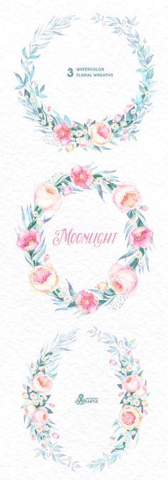 Morgentau. 3 Aquarell Kränze, Hochzeit, Einladung, floral Frame.
