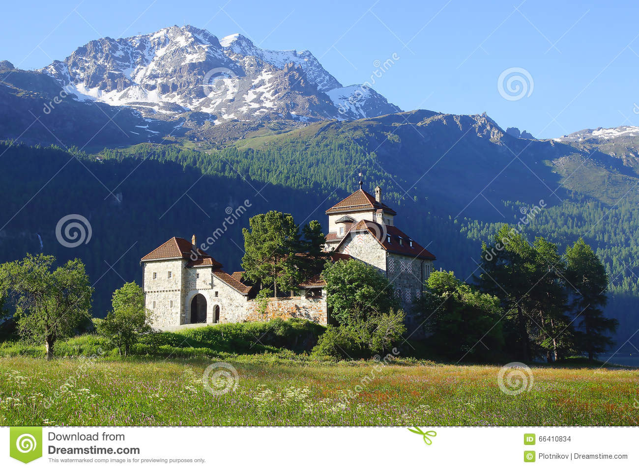 Silvaplana Castle Near St. Moritz. Switzerland Stock Photo.