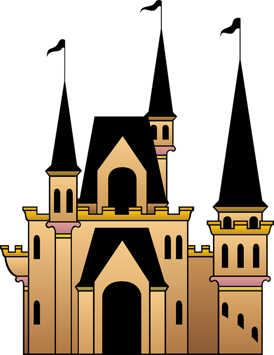 Free vector graphic: Castle, Flags, Windows, Roof.