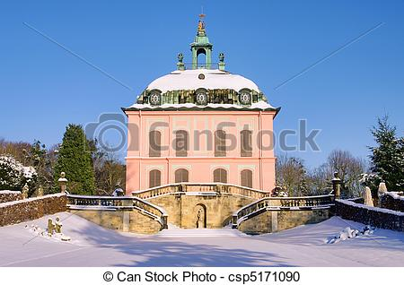 Stock Photography of Moritzburg Little Pheasant Castle in winter.