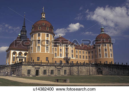 Stock Photography of castle, Moritzburg, Dresden, Germany, Saxony.
