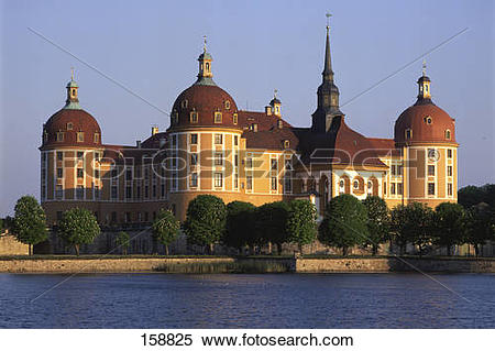 Stock Image of Castle at waterfront, Schloss Moritzburg.