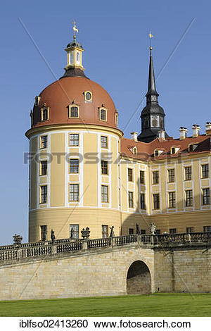Stock Photography of Hunters tower, Schloss Moritzburg Castle.