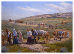 Download pioneer trek clipart Mormon handcart pioneers The.
