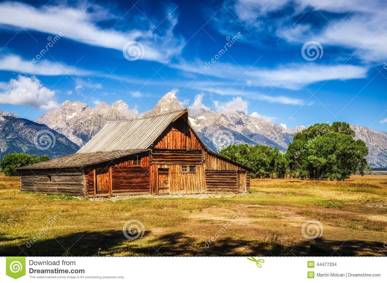 Grand Teton Scenic View With Abandoned Barn On Mormon Row Stock.
