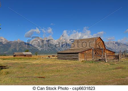 Stock Photos of Mormon Row Barn in the Grand Tetons.
