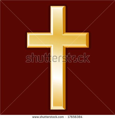 Christianity Symbol Golden Cross Icon Christian Stockillustration.