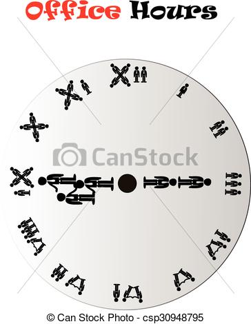 EPS Vectors of Morning office hours conceptual clock.