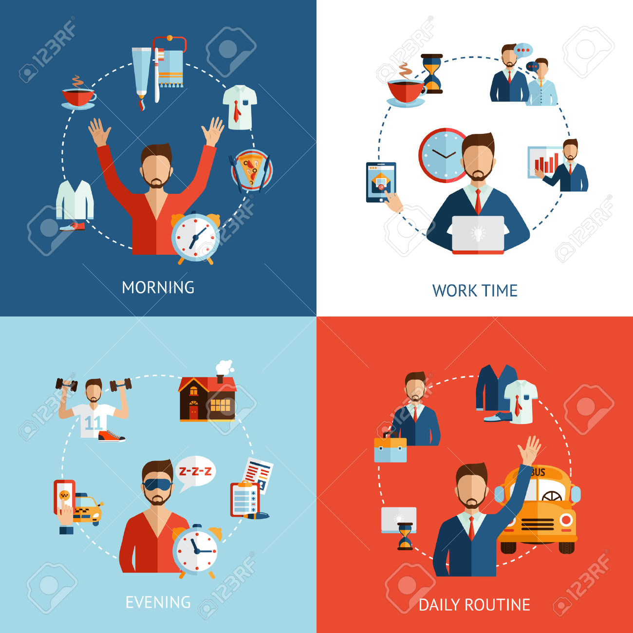 Businessman Daily Routine 4 Flat Icons Composition Of Morning.