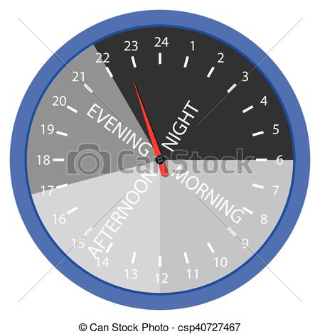 Clip Art Vector of Hours day morning, afternoon, evening, night.