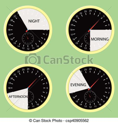 Clip Art Vector of Clock hours, time of day morning, afternoon.