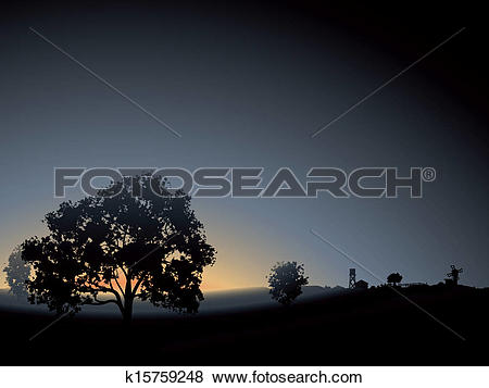 Clip Art of Lonely tree in the morning mist. k15759248.