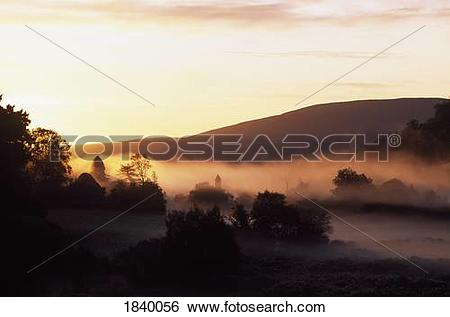 Stock Images of Early Morning Mist, Glendalough, Co Wicklow.