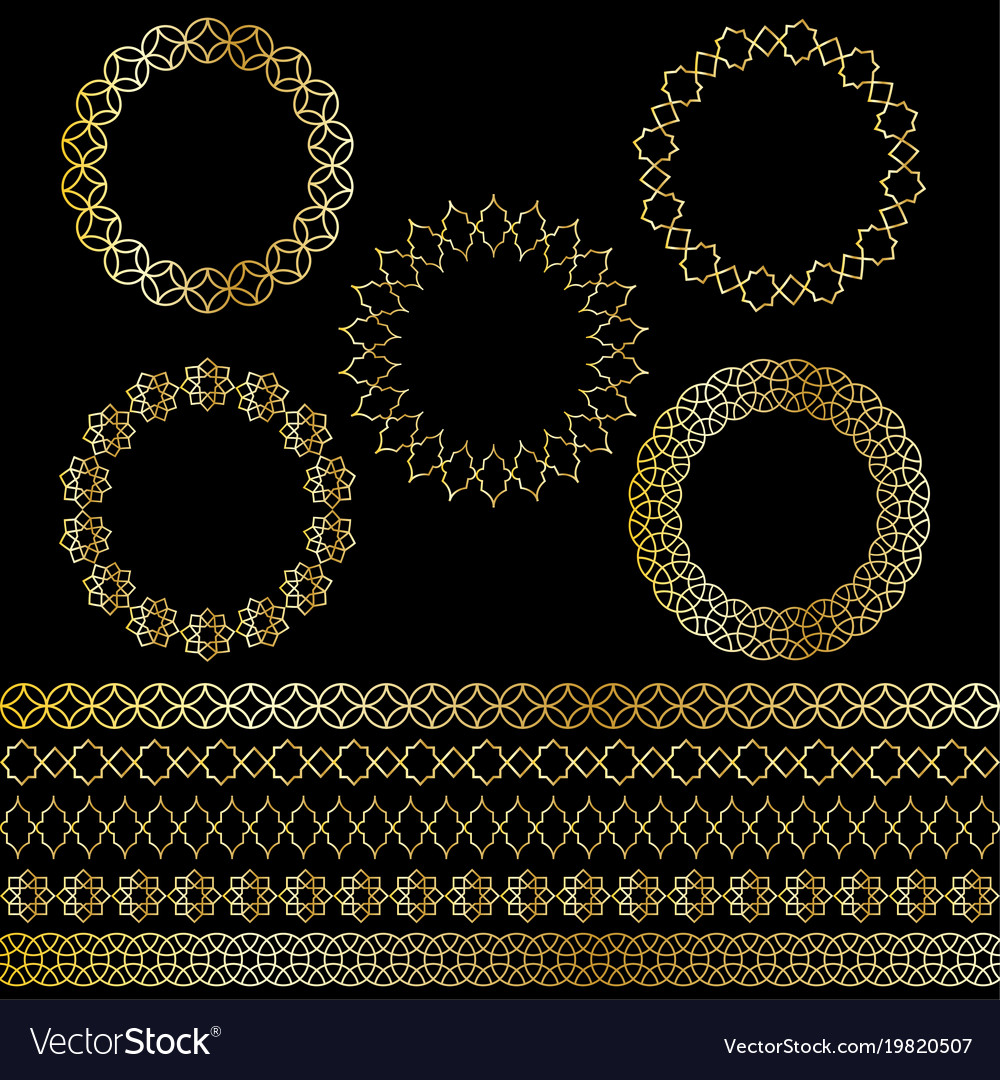 Golden moroccan frames and borders clipart.