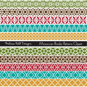 Moroccan Border Patterns Digital Clipart.
