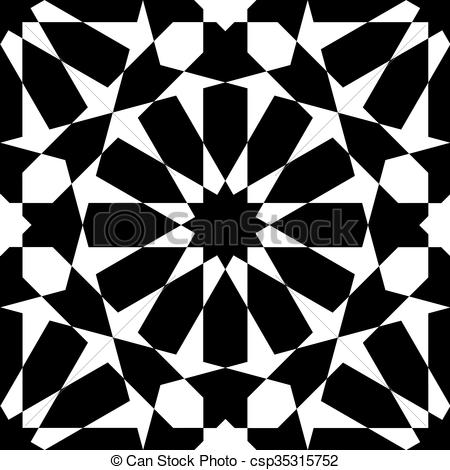 Clipart Vector of Moroccan black pattern.