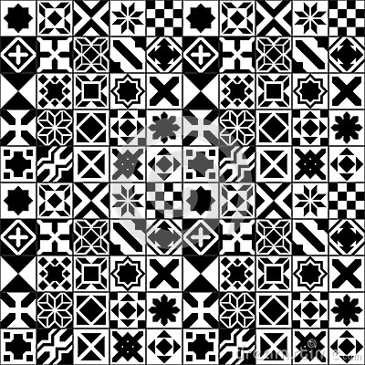 Black And White Moroccan Tiles Seamless Pattern, Vector Stock.