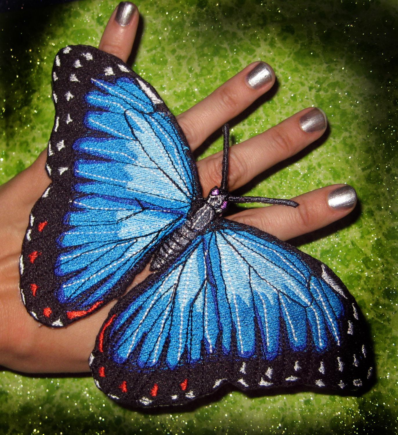 Epic Life Sized Blue Morpho Butterfly by SpiderStitchesParlor.