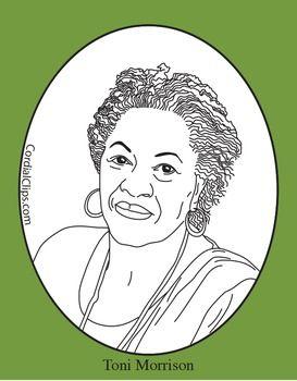 Toni Morrison Clip Art, Coloring Page or Mini Poster.