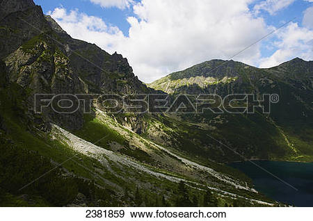 Stock Photograph of Dramatic mountain landscape and Morskie Oko.
