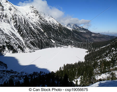 Picture of frozen lake morskie oko.