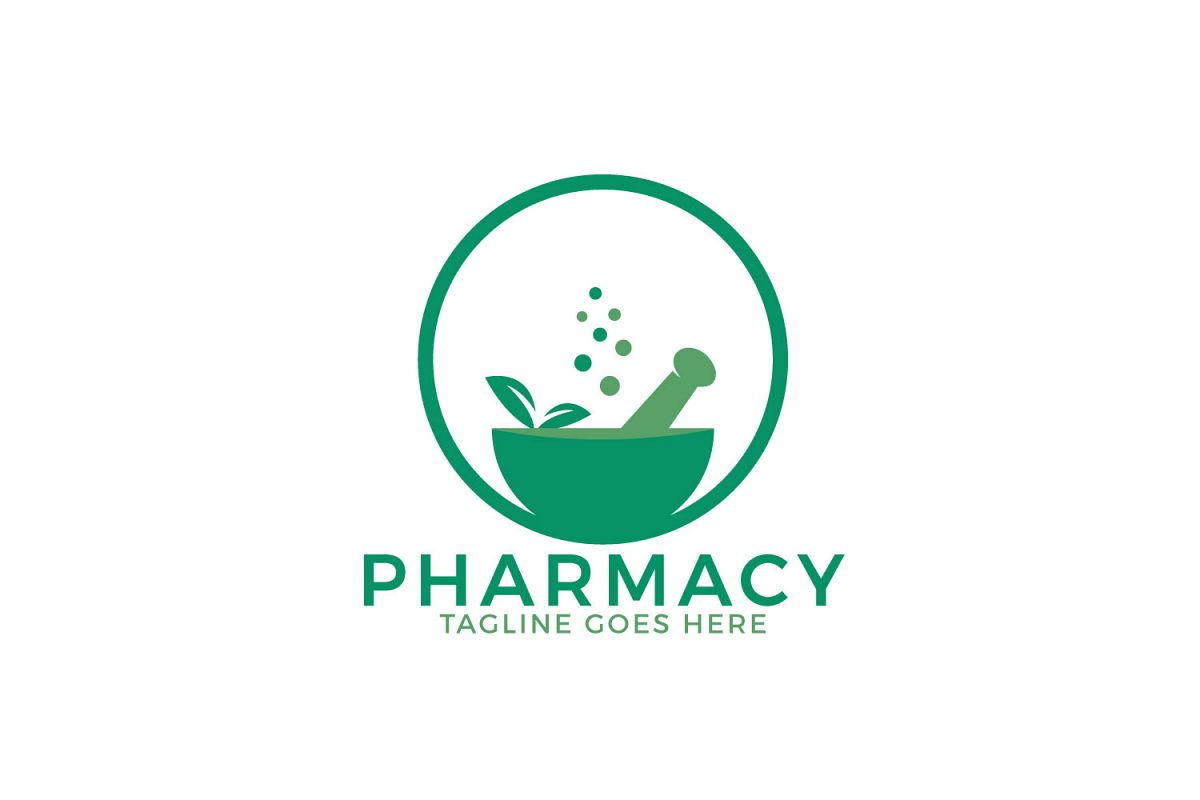 Pharmacy medical logo. Natural mortar and pestle logotype..