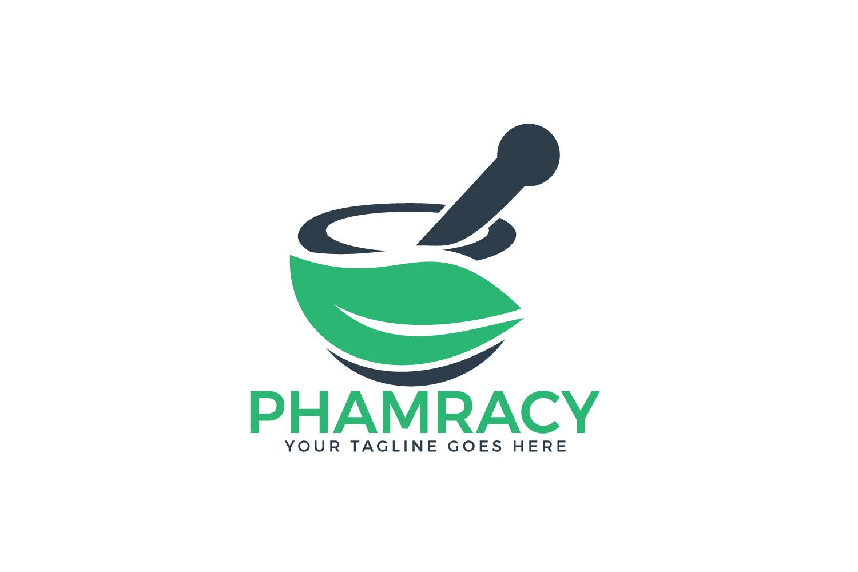 Pharmacy medical logo. Natural mortar and pestle logo..
