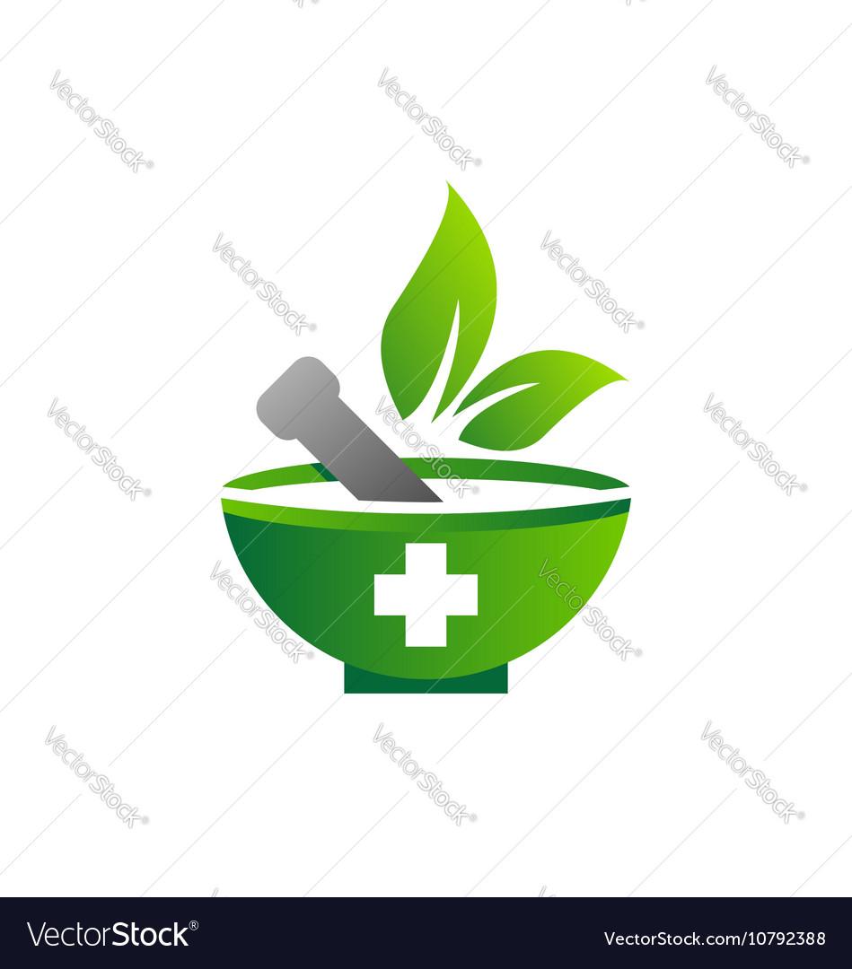 Mortar pestle logo symbol medicine pharmacy icon.