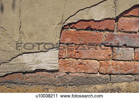 Stock Photography of Serious decay of mortar joints and crumbling.