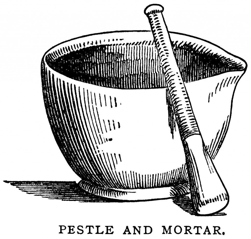 mortar pestle clip art, black and white graphics, vintage.