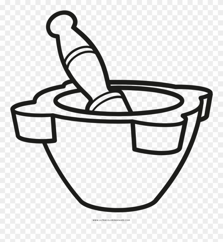 Mortar And Pestle Coloring Page Clipart.