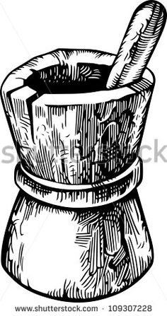 mortar pestle clip art, black and white graphics, vintage food.
