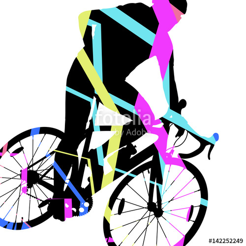 Sport road bike riders bicycle silhouette in abstract mosaic.
