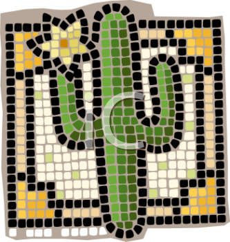 Mosaic of a Cactus Plant.