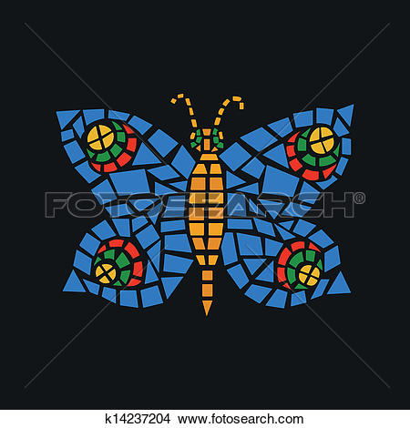 Clipart of Butterfly Mosaic k14237204.