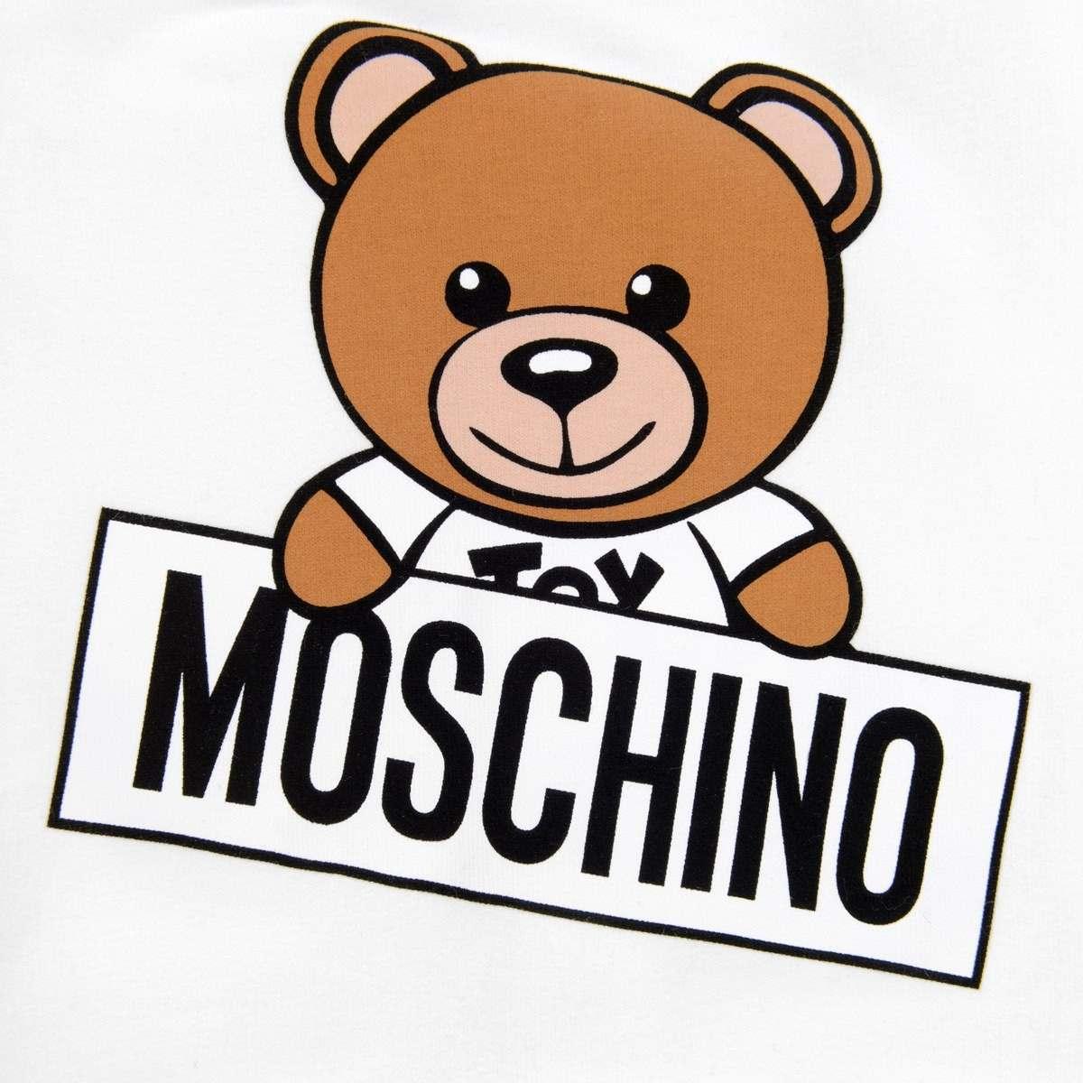 Moschino Ivory Teddy Signboard Babygrow.