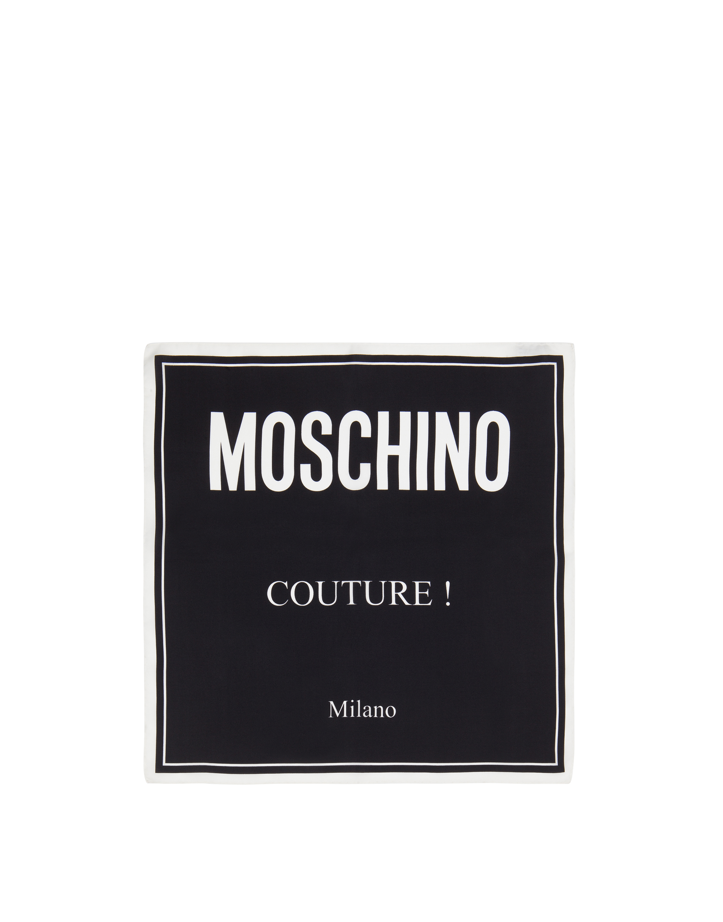 Silk headscarf with Moschino Couture print.