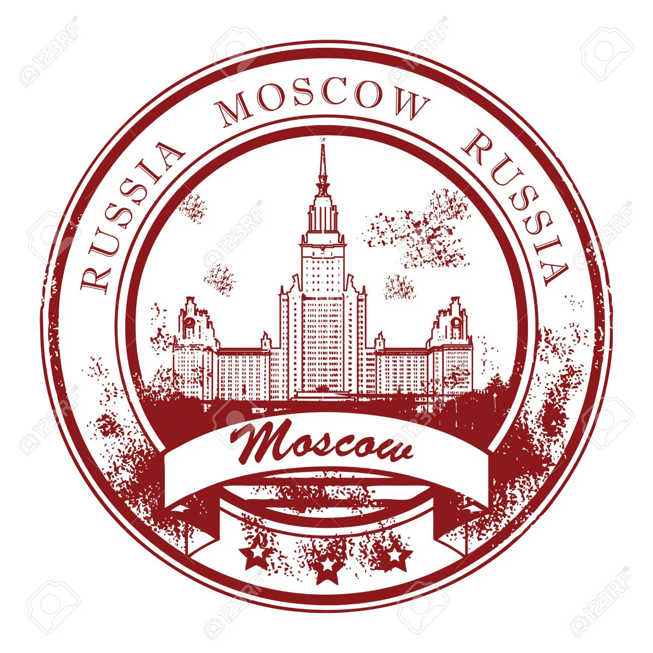 Grunge Rubber Stamp With Moscow State University And The Words.