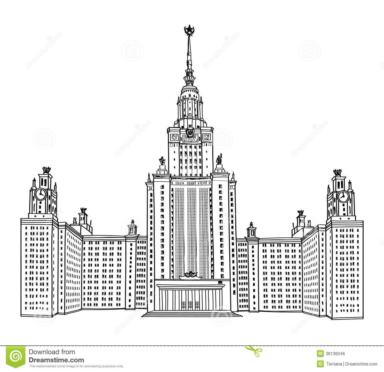 Moscow State University, Moscow. MGU, Russia. Royalty Free Stock.