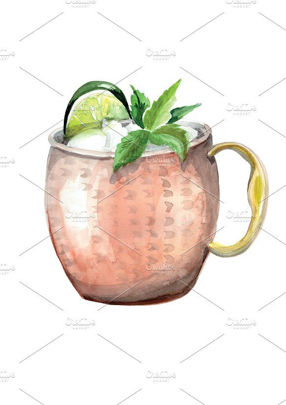 Watercolor Moscow Mule Drawing #decor#download#includes.