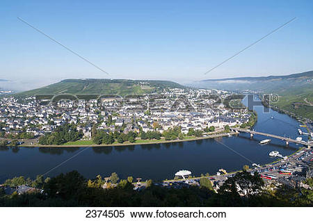 Stock Image of View of the boats in the Moselle River and.