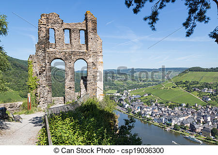 Stock Photography of Aerial view of Moselle River in Germany near.